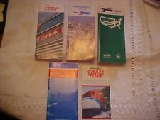 SET: FIVE AMTRAK TRAIN TIMETABLES & SCHEDULES,ALL FROM 1970S, EAST TO WEST COAST