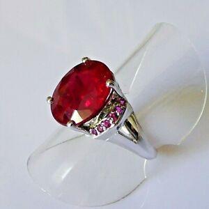 Handarbeit Edler Oval Blut Rubin Cocktail Ring Sterling Silber 925 17,2 mm 54