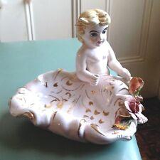 Benrose Capodimonte Old Italian Porcelain dish Figurine gold signed