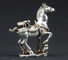 """OLD HANDWORK MIAO SILVER CARVING HORSE WONDERFUL STATUE """"马上赢"""" 201"""