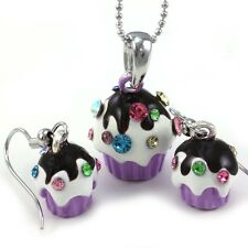 Cupcake Birthday Party Children Charm Necklace Pendant Stud Post Earrings Set q3