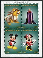 Chad Walt Disney Stamps 2014 MNH Thumper Minnie Mickey Mouse Cartoons 4v M/S II