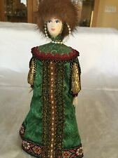Vintage Russian Porcelain Doll . Brand New. Hand painted beautiful face fur hat