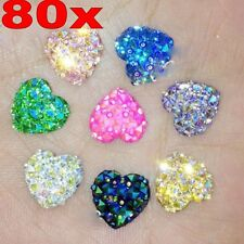 80X Colorful Resin Heart Flatback Scrapbooking for Phone/Wedding DIY Craft 12MM