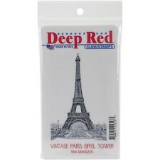"Deep Red Cling Stamp 2""X3"" - Vintage Paris Eiffel Tower"