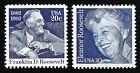 FRANKLIN DELANO ROOSEVELT FDR ELEANOR ROOSEVELT 100TH BIRTHDAY 2 US STAMPS MINT!