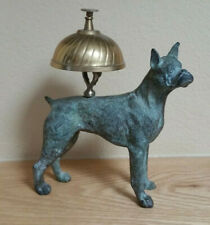 Antique Bronze Hotel Bell with Cast Boxer Dog  Maid Call /  Service Bell