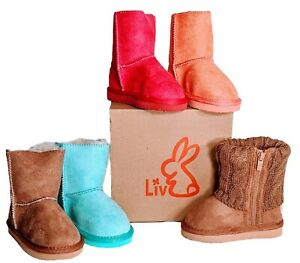 Liv Boots Infant Toddler Child Faux Fur Suede Most Sizes Pink Teal Brown Salmon
