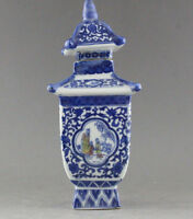 EXQUISITE CHINA JINGDEZHEN BLUE AND WHITE PORCELAIN VASE JAR QIANLONG MARK