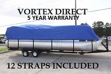 NEW VORTEX BLUE 24 FT  Foot Ultra Pontoon Boat Cover w/Elastic Seam + Tie Downs