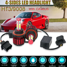2X 4 Sides H13 9008 COB LED Headlight Hi/Lo Beam Bulbs+Canbus Resistor Decorder