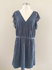 New Madewell for JCrew Lace Flutter Sleeve Dress F2595 Size 12 Blue $158 SoldOut