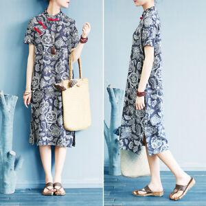 ZANZEA 8-24 Women Plus Size Midi Floral Dress Chinese Buttons Cheongsam Qipao