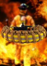Firefighter Bunker Turnout Gear Paracord 550 Survival Bracelet - Khki w/ Blk SS