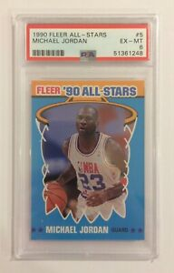 1990 FLEER BASKETBALL STICKER CARD - MICHAEL JORDAN #5 - ALL-STARS - MINT PSA 6
