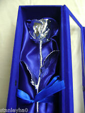 CHRISTMAS GIFT 11Inch Real Rose Dipped in Pure Silver in Handcrafted Box & COA