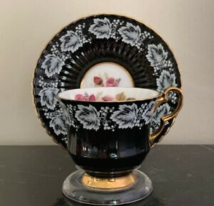 Vintage Royal Windsor Black, White, Gold and Roses Bone China Cup and Saucer