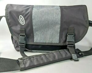 "Timbuk2 Classic Messenger Bag Small Gray Stripe Cordura Unisex 16""x10""x5"""