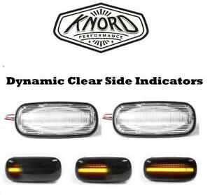 LAND ROVER DISCOVERY 2 DEFENDER LED DYNAMIC CLEAR SIDE REPEATER INDICATOR PAIR