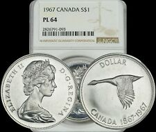 1967 CANADA SILVER GOOSE $1 DOLLAR BU NGC PL64 PROOF LIKE COIN IN HIGH GRADE