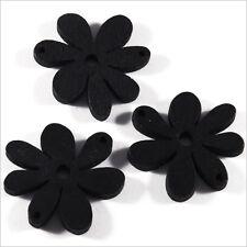 Lot de 10 Fleurs Perles en Bois 25mm Noir