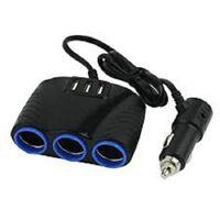 3 way Car Socket Cigarette Lighter Splitter 3 USB Power charger adapter 12V 24V