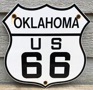 VINTAGE STATE OF OKLAHOMA U.S. US ROUTE 66 PORCELAIN ROAD HIGHWAY SIGN