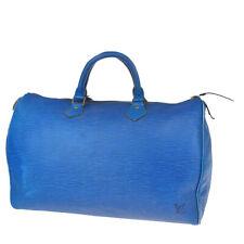 Auth LOUIS VUITTON Speedy 35 Travel Hand Bag Epi Leather Blue M42995 33MC571