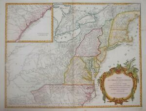 NORTH AMERICA - PARTIE DE L'AMERIQUE SEPTENTRIONALE.....DE VAUGONDY CIRCA 1790.