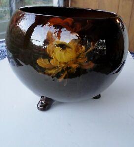 "Vtg Weller Pottery 13"" Louwelsa Painted Flower 3 Footed Jardiniere Flower Pot"
