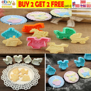 4-20pcs Baby Shower Clothes Cookies Plunger Cutter Mould Fondant Cake Biscuit-