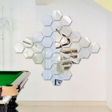 12PCS Hexagon Acrylic Mirror Face Wall Sticker Adhesive DIY Decorative Stickers