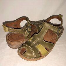 Josef Seibel Women's 39 Green Leather Peep Toe Ankle Strap Sandals