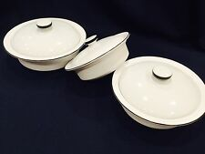 3 sets Corning Ware French Rare White Black Ribs Baking Casserole Covered w Lids