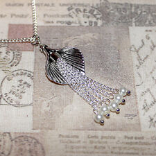 Flapper/Gatsby/1920's long silver necklace, calla lily & pearl tassel pendant