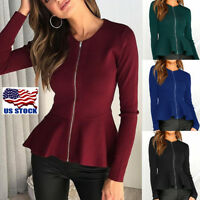 Womens Ladies Zip Peplum Ruffle Plus Size Tailored Blazer Jacket Top Long Sleeve