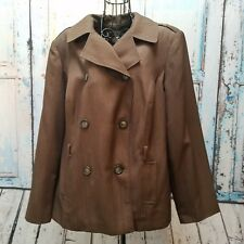 Giorgio Sant Angelo Womens Double Breasted Dark Brown Jacket Lined Plus Size 18W