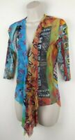 Save The Queen Italy Size M Colourful Mesh Top Boho Art Funky Asymmetric