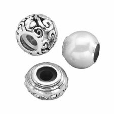STERLING SILVER CRYSTAL & SWIRL STOPPER & SPACER BEAD SET