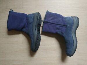 LL Bean Womens Navy Suede Zip Up Fleece Lined Calf Winter Boots Size 8M
