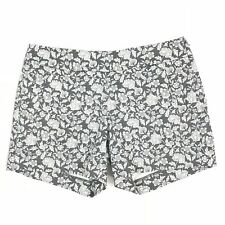 "J. Crew W902 WMNS Sz 4 Gray Floral Print 5"" City Fit Stretch Chino Mini Shorts"