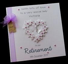 "Large 8"" SQ Handmade Personalised Retirement FlowerHeart Card"