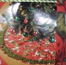 "NO SEW FLEECE CHRISTMAS TREE SKIRT POINSETTAS! MAKES ONE 48"" SKIRT FABRIC"