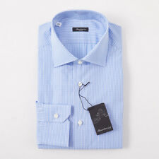NWT $395 SARTORIO NAPOLI Sky Blue Gingham Check Cotton Dress Shirt 15 x 35
