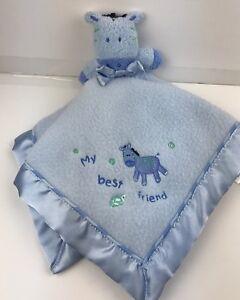 Child of Mine My Best Friend Security Blanket Baby Lovey Blue Zebra Satin Edges