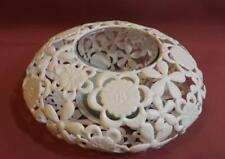 BEAUTIFUL FLOWER DESIGN * WHITE METAL & GLASS CANDLE or VASE HOLDER