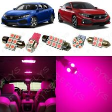 8x Pink LED interior lights package kit for 2016-2018 Honda Civic +Tool HC5P