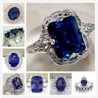 Fashion Jewelry Women 925 Sterling Silver Sapphire Ring Wedding Engagement Gifts