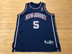 MENS LARGE - Vtg NBA New Jersey Nets #5 Kidd Reebok Sewn Jersey