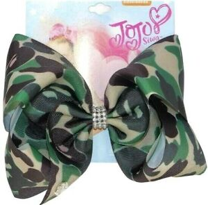 "Jojo 8"" Bow Camouflage Camo Print with Rhinestones"